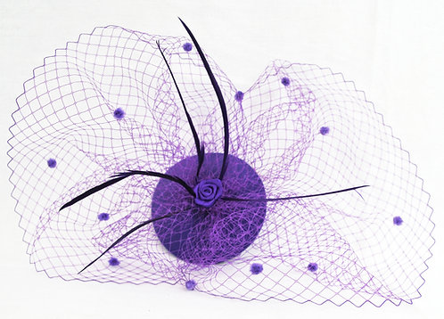 Dual Veil Flat Base Fascinator - Purple