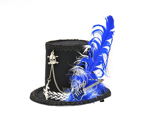 Rock Star Mini Top Hat with Blue and White Accents