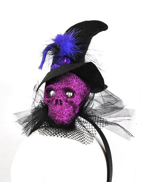 Headband - Purple Glitter Skull With Hat