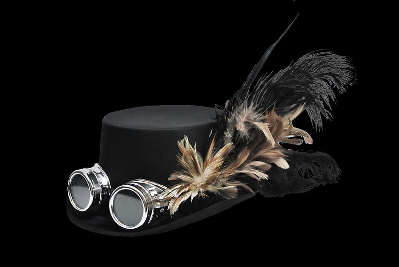 Satin Top Hat with Tan Accents and Goggles