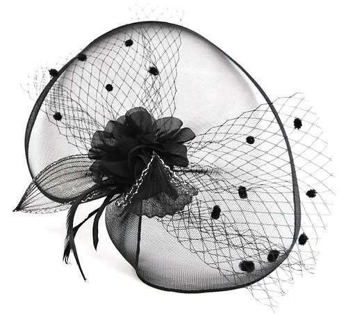 Crinoline Flower Veil - Black