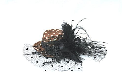 "Brown Polka Dot 5"" Mini Hat"