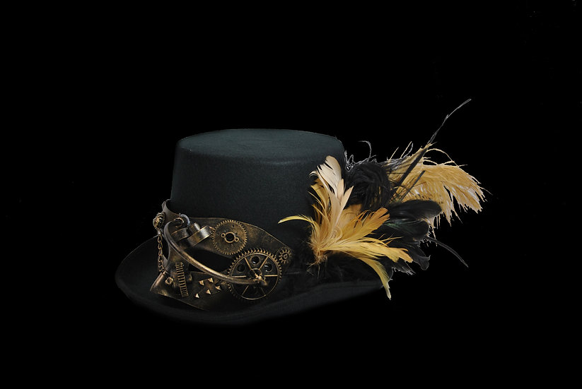 Top Hat with Black and Gold Accents and Mask