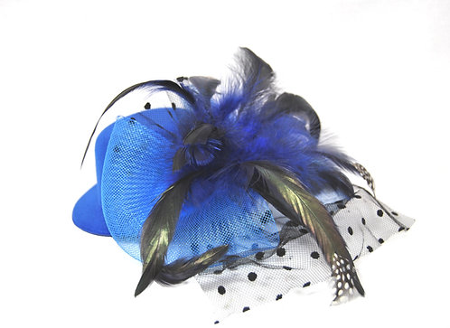 "Blue Plumed 5"" Mini Hat"