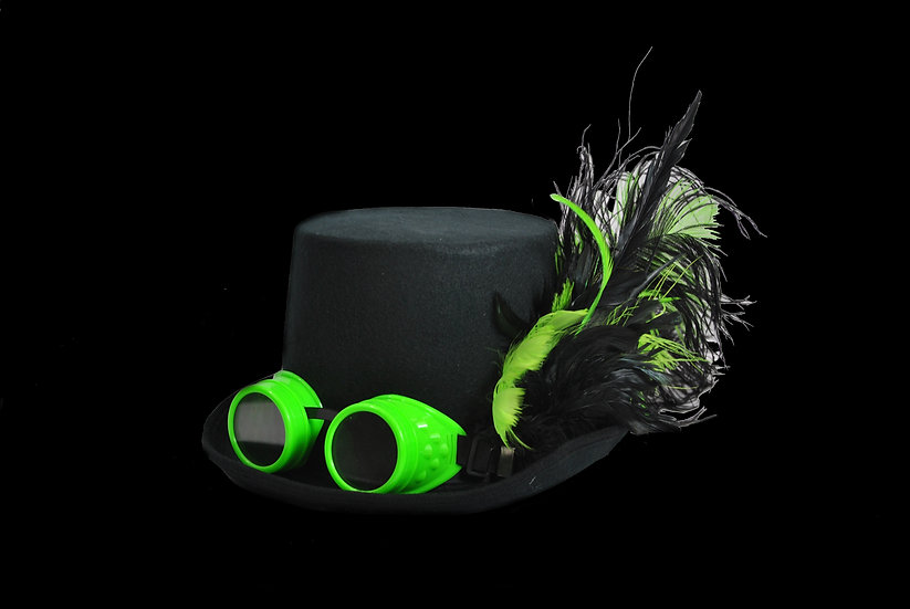 Top Hat with Lime Green Accents and Goggles