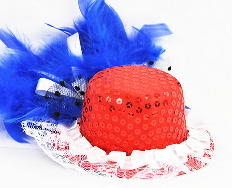 Red Sequin Miniature Hat