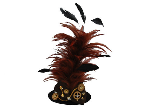Brown Steampunk Gear Mini Top Hat