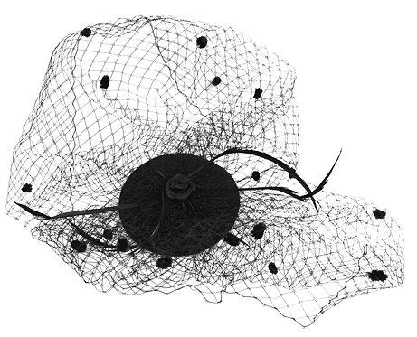 Dual Veil Flat Base Fascinator - Black