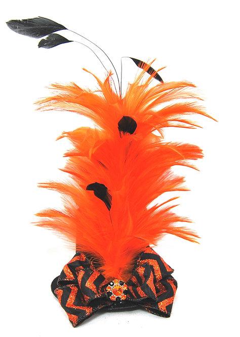 Orange and Black Chevron MIni Top Hat