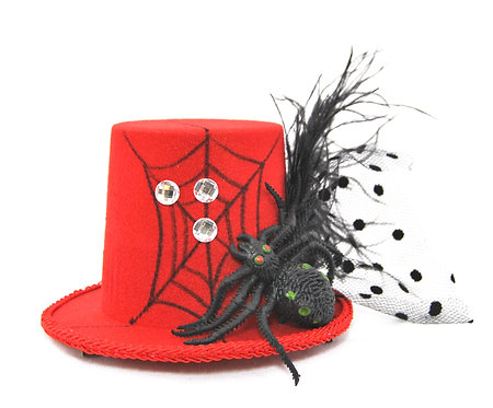 Spider Web Red Mini Top Hat