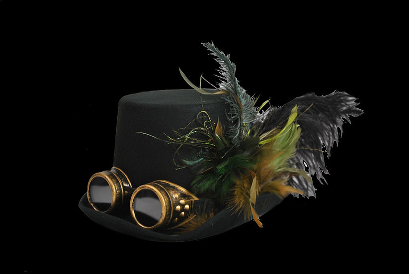 Top Hat with Green Accents and Goggles