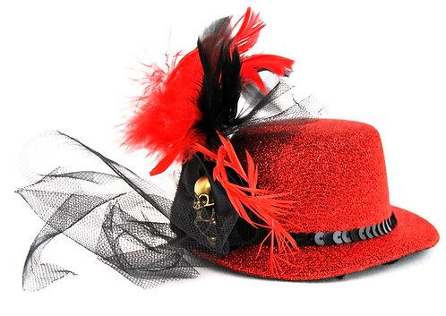 Red Skull Netting Mini Hat