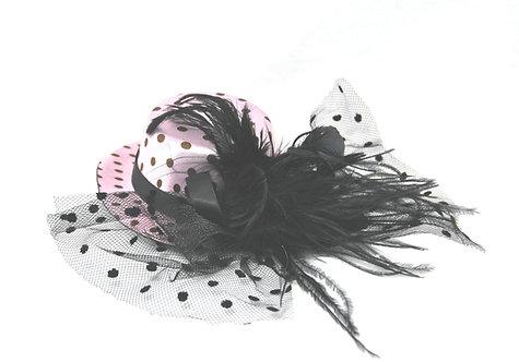 "Light Pink Polka Dot 5"" Mini Hat"