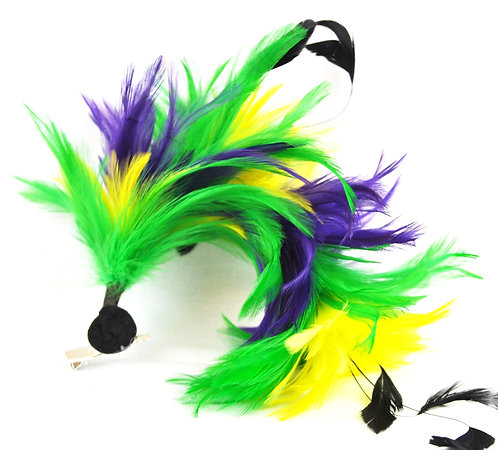 Mardi Gras Feather Stick Hairclip