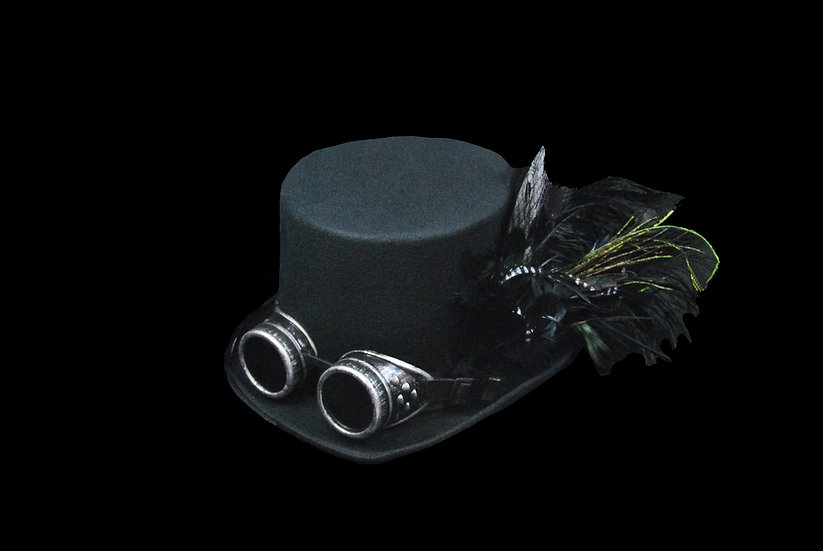 Black and Silver Top Hat with Goggles