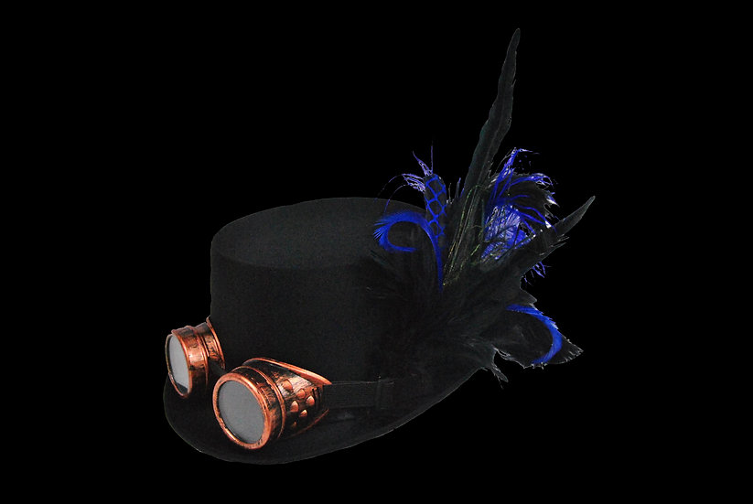 Satin Top Hat with Blue Accents and Goggles