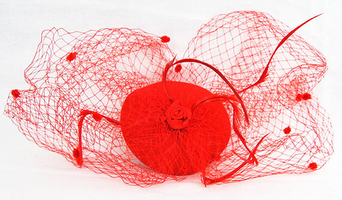 Dual Veil Flat Base Fascinator - Red