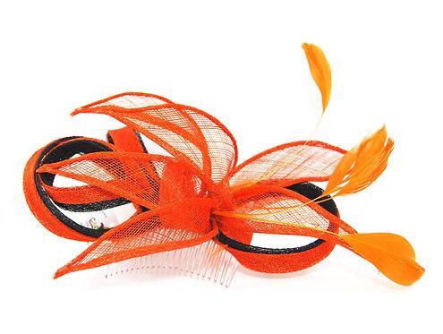 Black and Orange Sinamay Hair Comb