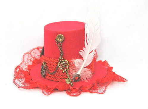 Red  Lace Mini Top Hat