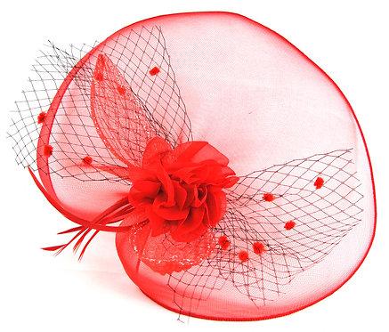Crinoline Flower Veil - Red