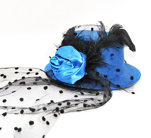 Rose Veil Mini Hat - Blue
