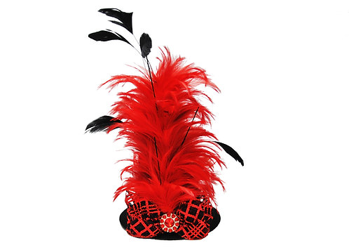 Red & Black Glittered Feathered Mini Top Hat