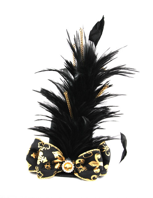 Black and Gold Fleur De Lis - Saints Mini Hat -BLK