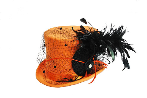 Full Sized Halloween Hat - Orange w/ Netting