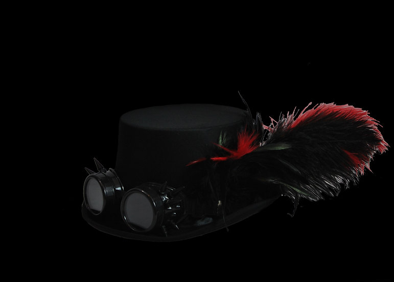 Satin Top Hat with Red Accents and Goggles