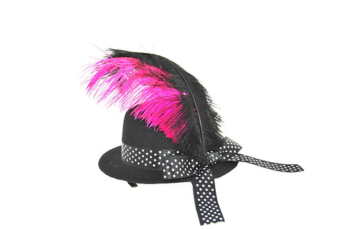 Polka Dot Plume Mini Hat - Multiple Colors