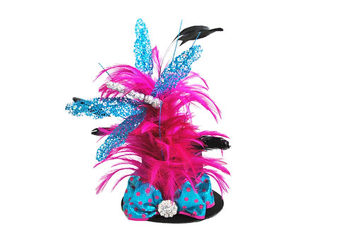 Hot Pink Glittered Dragon Fly Mini Top Hat