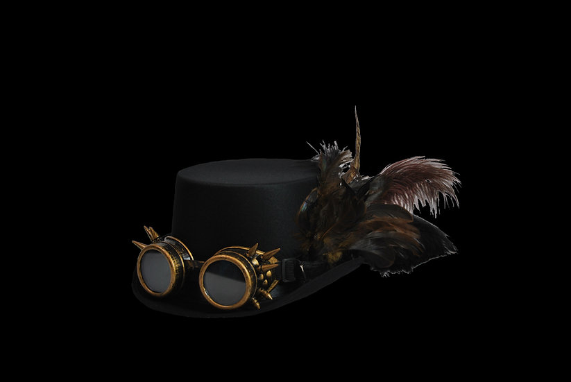 Satin Top Hat with Brown Accents and Spiked Goggles