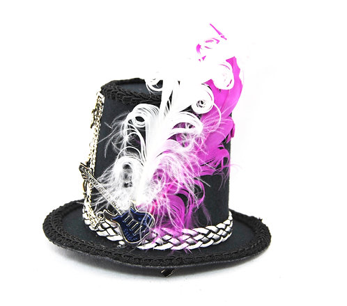 Rock Star Mini Top Hat with Pink and White Accents