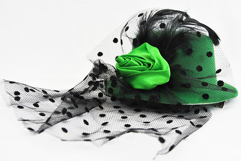 Rose Veil Mini Hat - Green