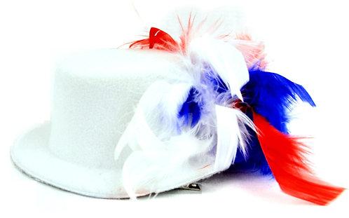 Red White & Blue Chandelle Mini Hat - White