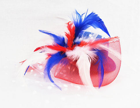 Red White and Blue Plumed Veil Hat