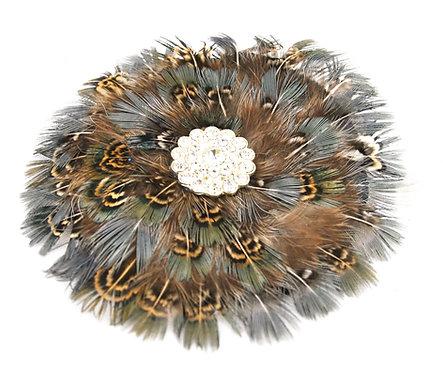Round Pheasant Hairclip / Brooch