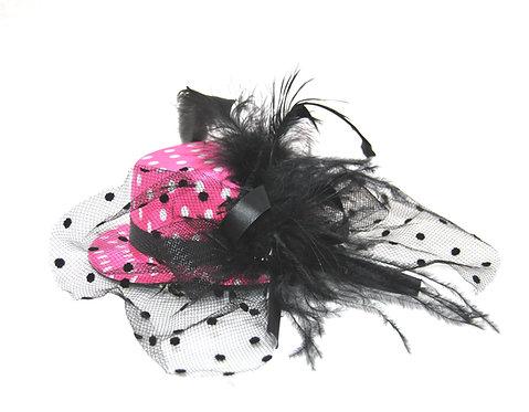 "Hot Pink Polka Dot 5"" Mini Hat"