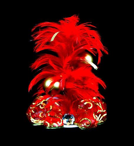 Merry Chrismas Red & Gold Mini Top Hat