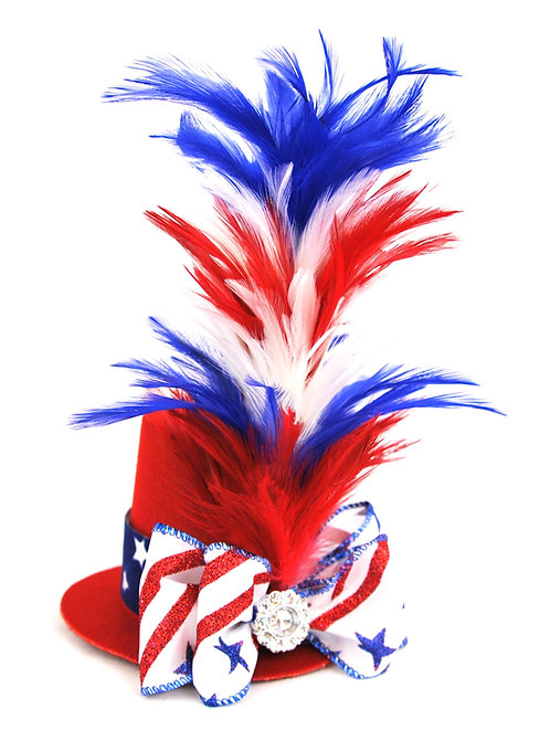 Feather Stick Mini Top Hat Red White Blue