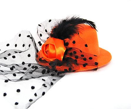 Rose Veil Mini Hat - Orange