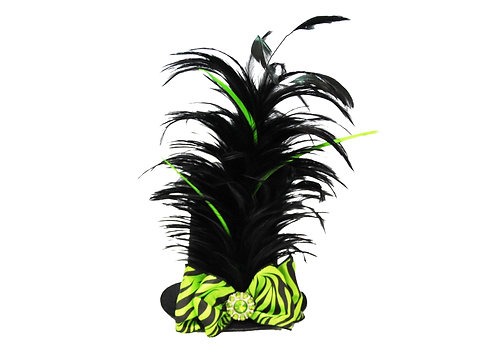 Lime & Black Zebra Mini Top Hat