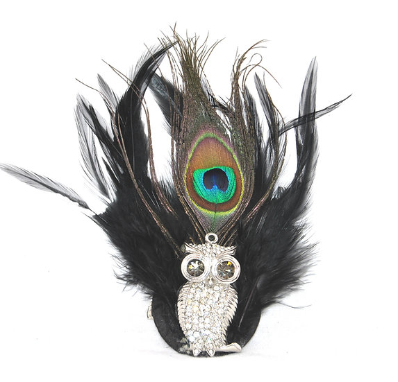 Rhinestone Owl Dual Hairclip
