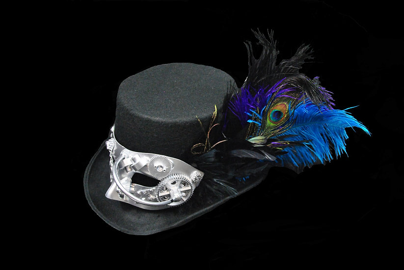 Purple and Teal Peacock Large Top Hat with Mask