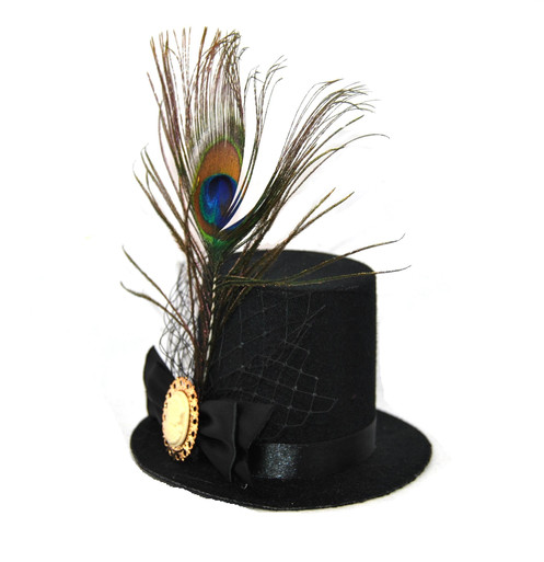 8e3465c3 A 5 Inch Mini Top Hat on Alligator Clips with Cameo, Peacock Feather and  Ribbon