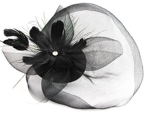 Flower Star Feathered Fascinator - Black
