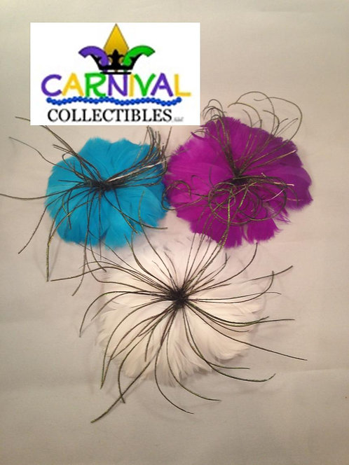 Feather Flower Hairclip/Brooch - Multiple Colors