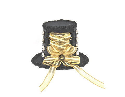 Black and Gold Corset Mini Top Hat