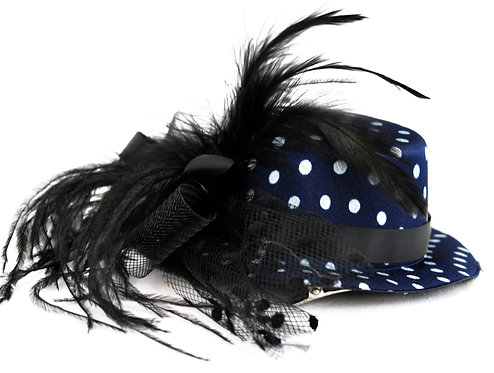 "Navy Blue Polka Dot 5"" Mini Hat"