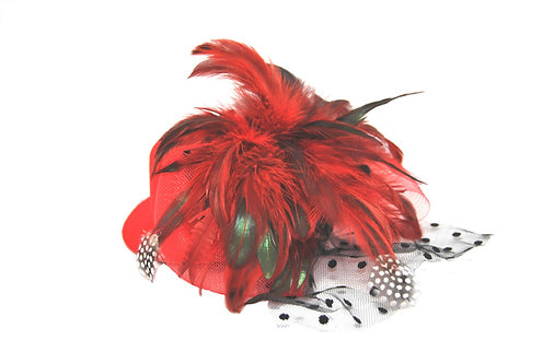 "Red Plumed 5"" Mini Hat"